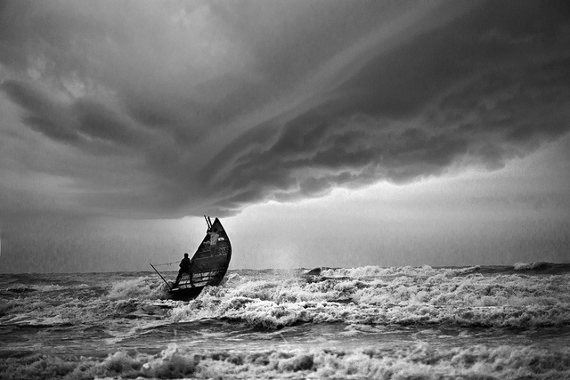 Fishing boat in a storm