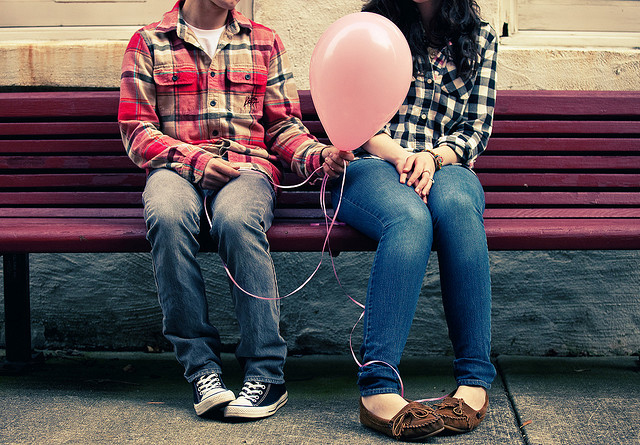 girl, boy, balloon