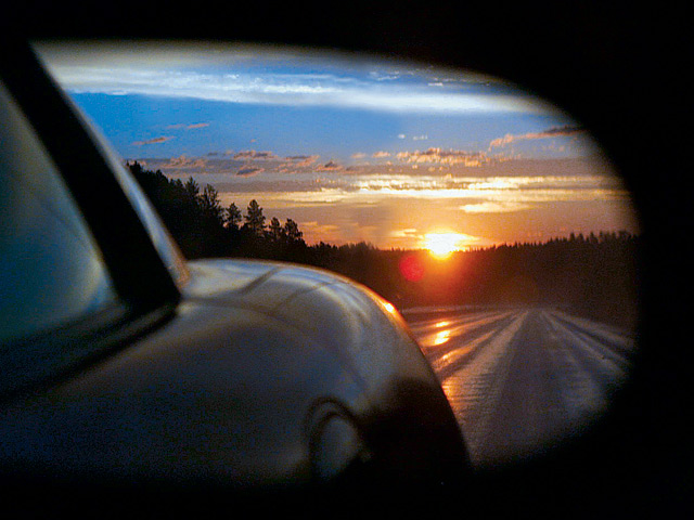 car, rearview mirror, sunrise