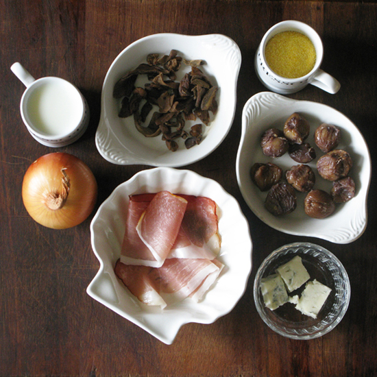 Scrumptious sweet chestnuts and smoked ham with polenta gorgonzola by Kate Bailward