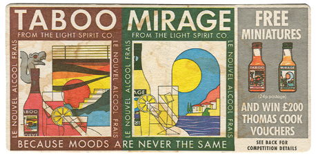 taboo and mirage drinks mats